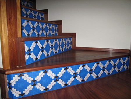 Casart custom faux tile stair risers, seen on Slipcovers for your walls, casartblog