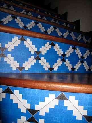 Casart customer custom faux tile stair risers, seen on Slipcovers for your walls, casartblog