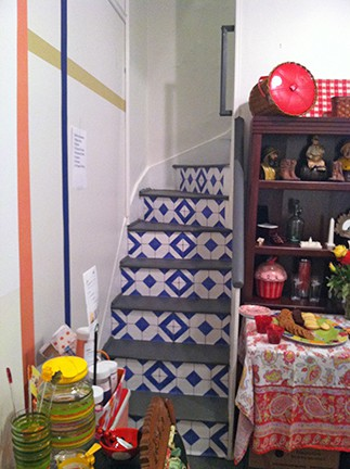 Casart Faux Tile Stair Risers at the Bucket List Boutique in Alexandria, VA, as seen on Slipcovers for your walls, casartblog