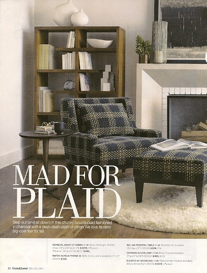 Plaid_Crate & Barrel fall 2012 catalog, as seen on Slipcovers for your walls, casartblog