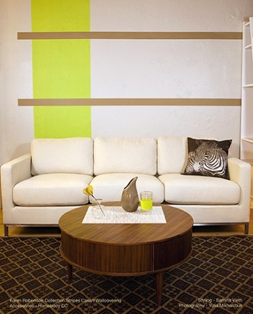 Karen Robertson Collection Lime Drk Sand Stripes_Casart, as seen on Slipcovers for your walls, casartblog