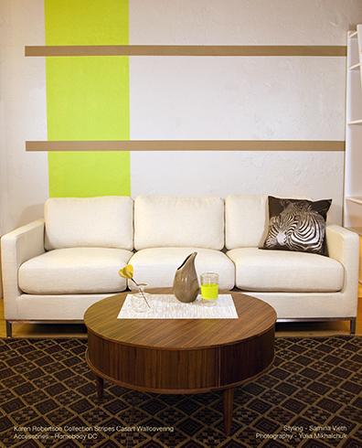 Karen Robertson Collection Lime Drk Sand Stripes_Casart, as seen on Slipcovers for your walls, casartblog