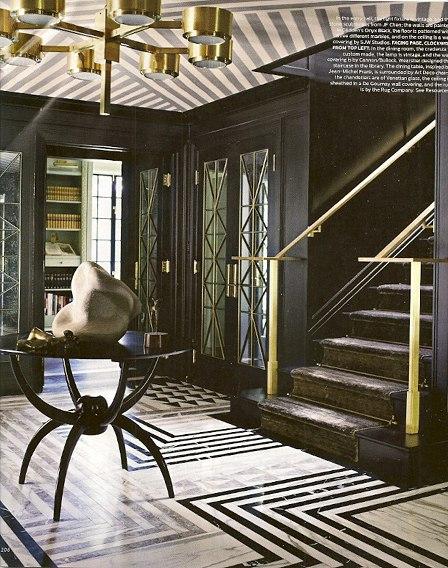 Kelly Wearstler does Geometric Stripes via Elle Decor, as seen on Slipcovers for your walls, casartblog