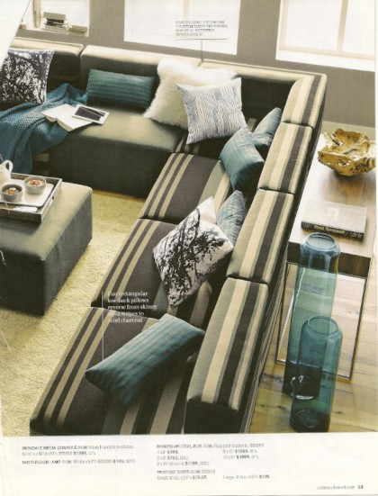 Stripe Sofa via Crate & Barrel, as seen on Slipcovers for your walls, casartblog