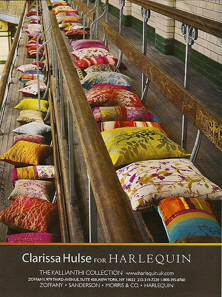Colorful-Harlequin pillows, as seen in Slipcovers for your walls, casartblog