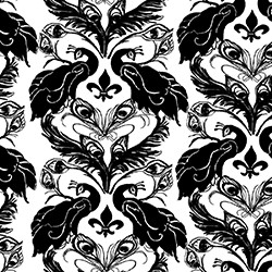 French Peacock Damask_black and white, as seen on Slipcovers for your walls, casartblog