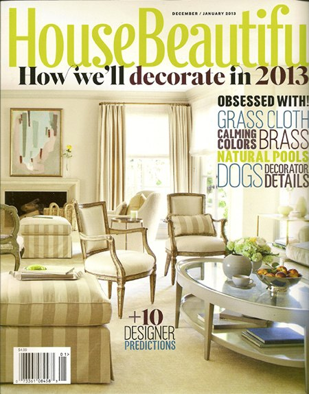 House Beautiful December 2012 issue, as seen on Slipcovers for your walls, casartblog
