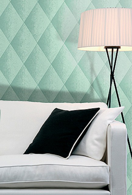 Casart Teal Faux Padded Harlequin on Slipcovers for your walls, casartblog