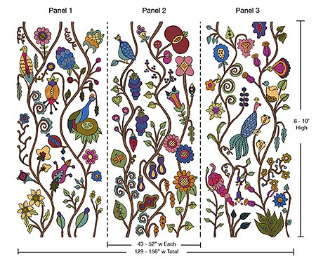 casart-coverings-3, Kristin Nichola garden-mural, removable-wallcovering, repositionable-wallpaper, reusable-wall-covering, temporary-wallpaper
