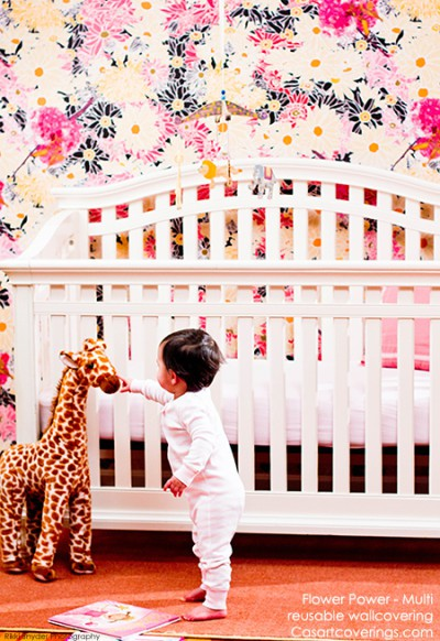 Casart coverings Flower Power nursery, as seen on Slipcovers for your walls, casartblog