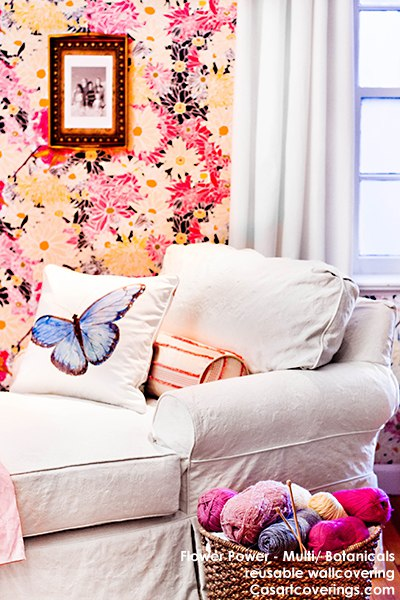 Casart Coverings Flower Power temporary wallpaper sitting room, as seen on Slipcovers for your walls, casartblog