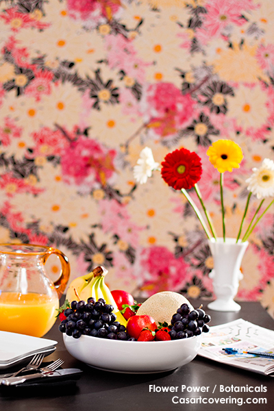 Casart Coverings Flower Power temporary wallpaper morning, as seen on Slipcovers for your walls, casartblog