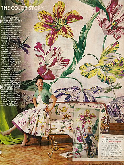 Manuel Canovas style floral mural by Millree Hughes on Slipcovers for your walls, casartbog