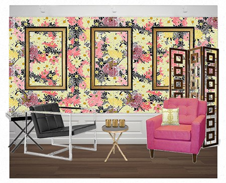 A Mixed Bouquet in a Floral Salon on Slipcovers for your walls, casartblog