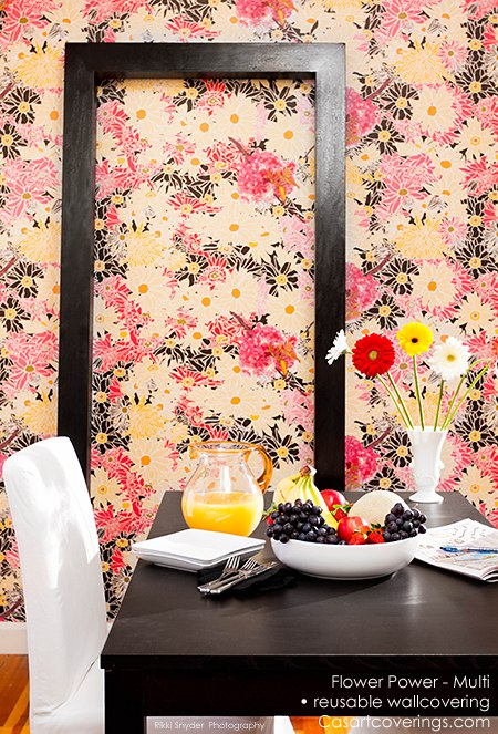 Casart Flower Power temporary wallpaper breakfast dining room on Slipcovers for your walls, casartblog