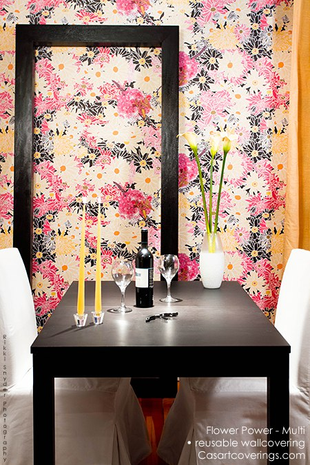 Flower Power - reusable wallcovering on Slipcovers for your walls, casartblog