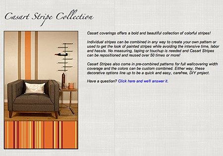 Casart coverings Stripe Collection as seen on Slipcovers for your walls, casartblog