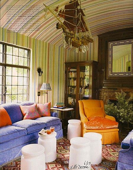 Elle Decor Stripes on Slipcovers for your walls, casartblog
