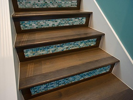 Glass mosaic tiles on stair risers, on Slipcovers for your walls, casartblog