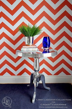 Libby Langdon Chic Chevron temporary wallpaper for Casart coverings