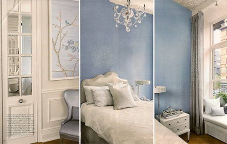 Kelly Giesen interior design via House Beautiful on Slipcovers for your walls, casartblog