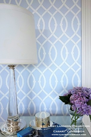 Casart lamp with Lovely Lattice Icy Blue_Libby Langdon Collection temporary wallpaper_Room View