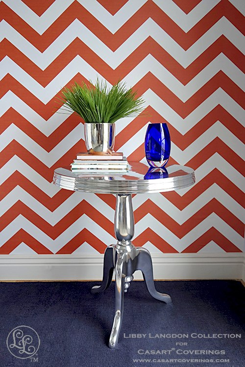Libby Langdon Chic Chevron Orange temporary wallpaper for Casart coverings