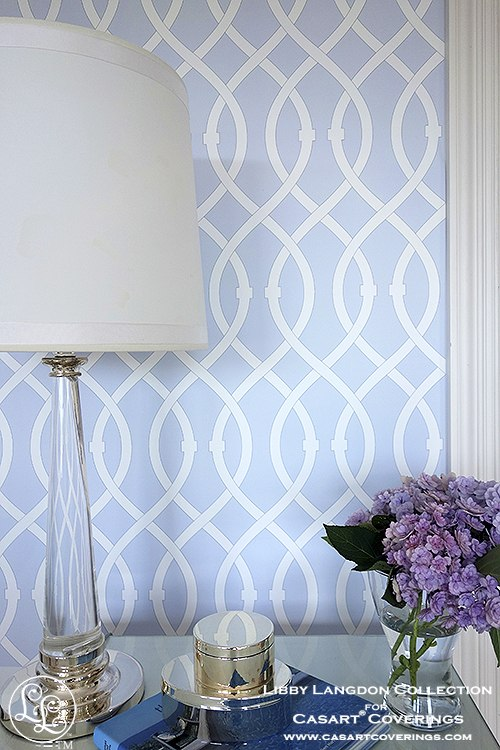 Libby Langdon Lively lattice Icy Blue temporary wallpaper for Casart coverings