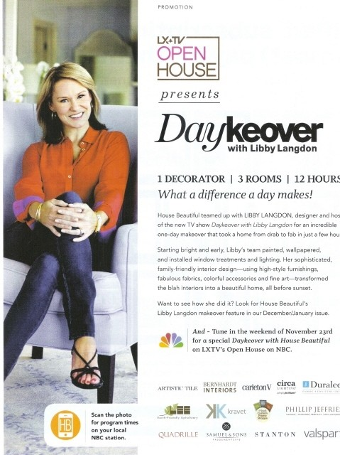 House Beautiful promotion for Libby Langdon's Daykeover show_casartblog