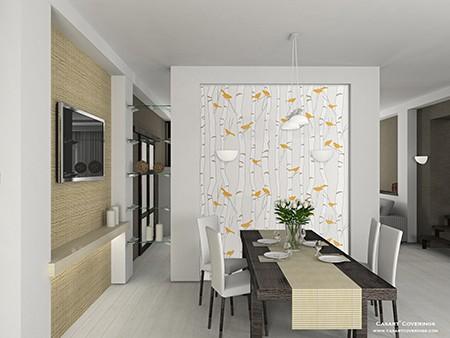 Casart orange Birds & Birch interior rm on Slipcovers for your walls