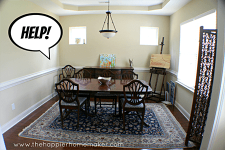 dining-room-makeover-via www.thehappierhomemaker.com on Slipcovers for your walls, casartblog
