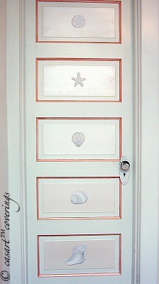 Casart Trompe l'Oeil Faux Plaster Shell Panel Elements on Slipcovers for your walls, casartblog