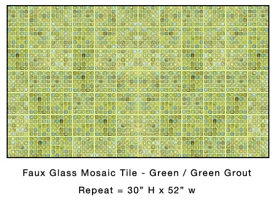 Casart coverings_Faux Glass Mosaic Green Tile temporary wallpaper_casartblog