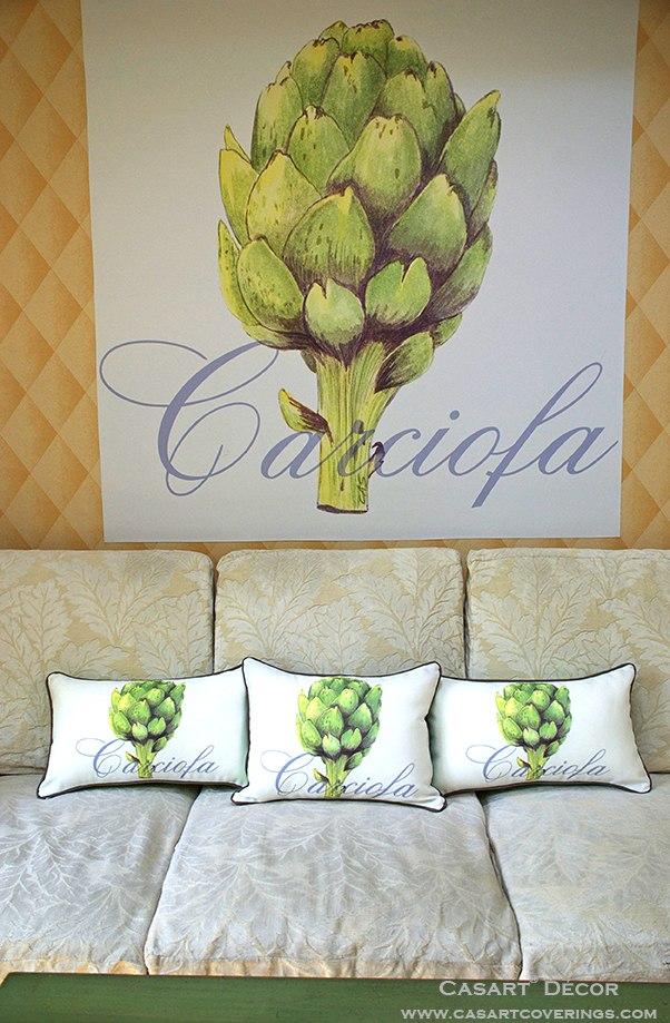 Casart 3 Artichaut pillows with Artichaut Mural