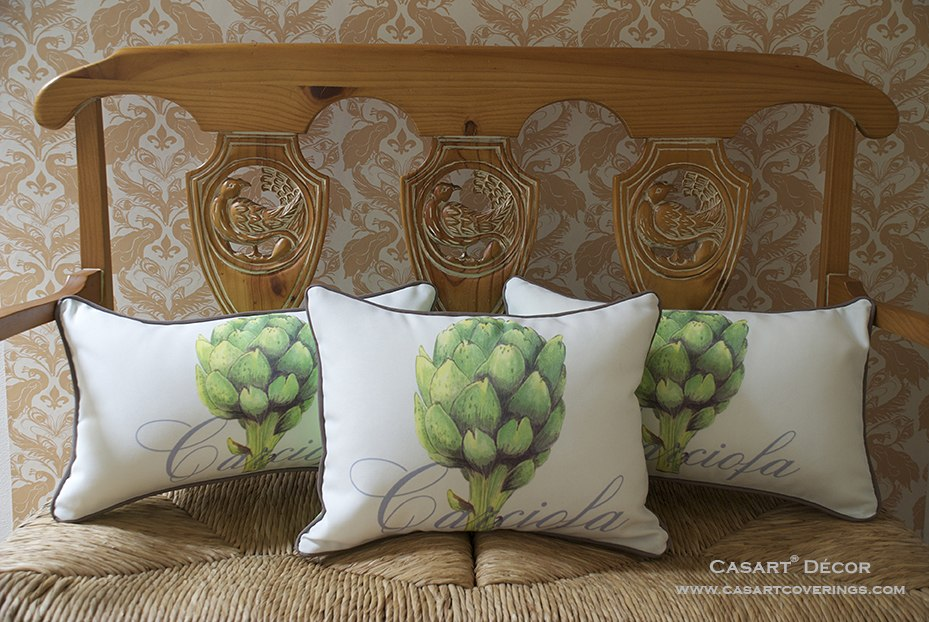 Casart Artichaut Pillows with Peacock Damask wallcovering