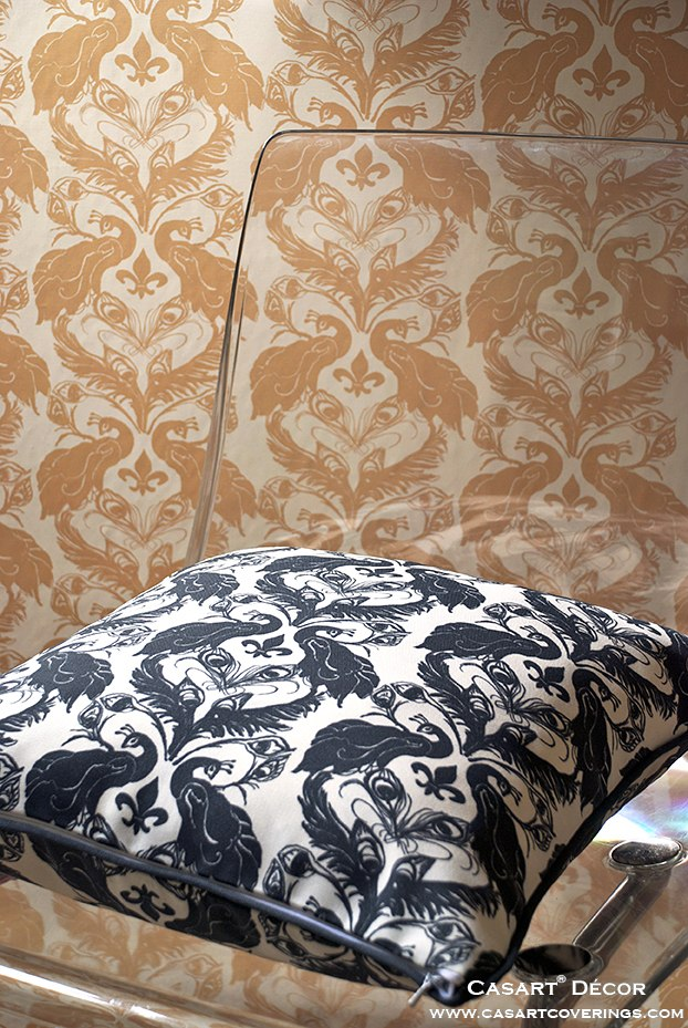 Casart Peacock Damask Pillow-wallcovering