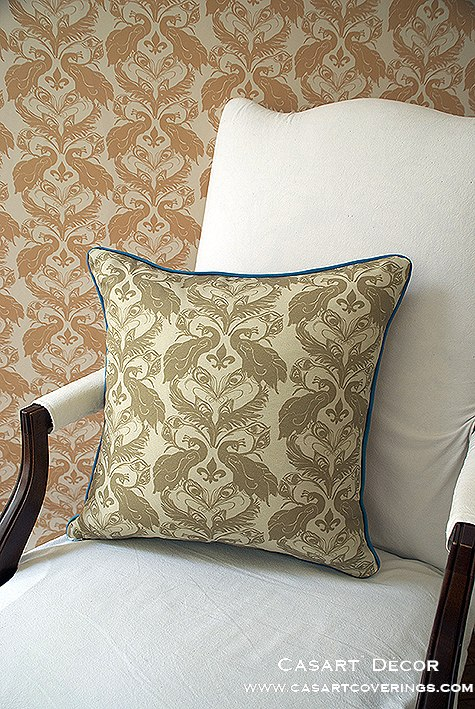 Casart Peacock Damask all weather PIllow slipcover