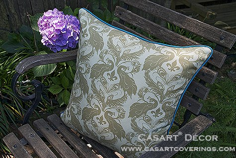 Casart Peacock Damask all weather, reversible PIllow slipcover