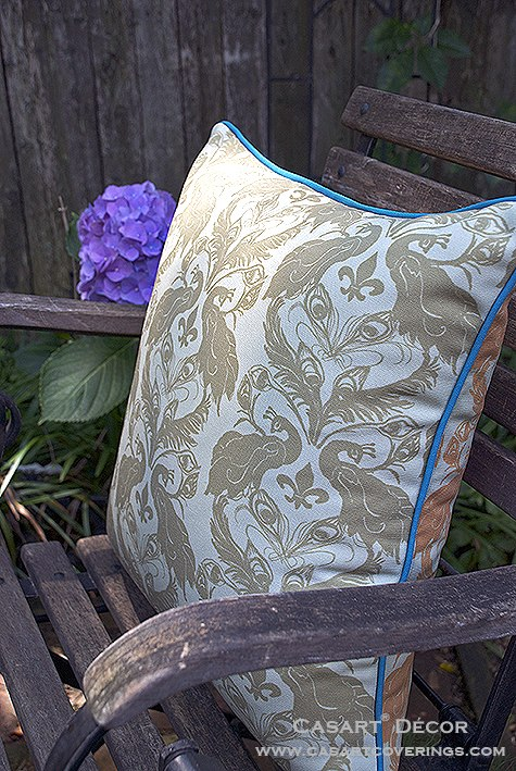 Casart ginger Peacock Damask all weather outdoor PIllow slipcover_casartblog