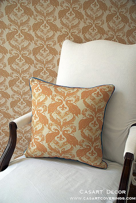 Casart Tumeric Peacock Damask all weather PIllow slipcover_casartblog