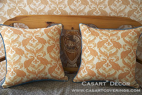 Casart Peacock Damask all weather PIllow slipcovers