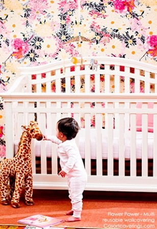 baby with Casart Flower Power temporary wallpaper in Nursery_casartblog