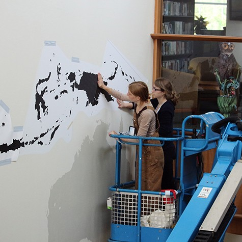 Using maps on Casart Light to paint InkDwell mural for Cornell Univeristy, on Slipcovers for your walls, casartblog
