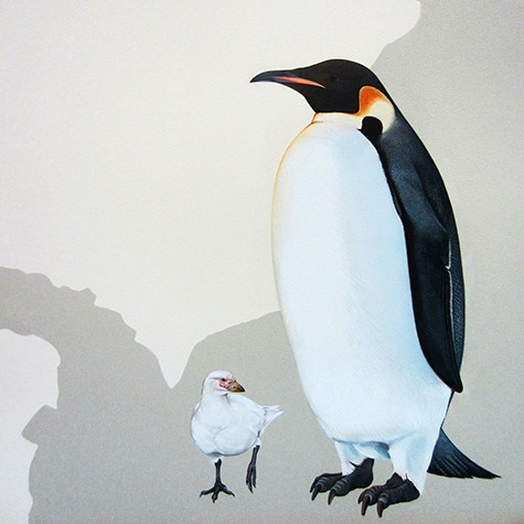 Emporer penguin via InkDwell mural for Cornell University on Slipcovers for your walls, casartblog