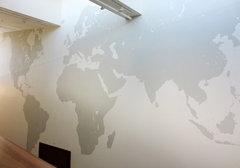 Painted InkDwell maps using Casart Light wallcoverings