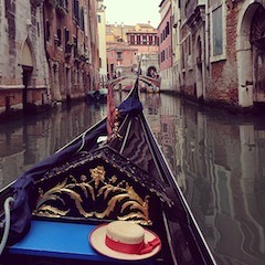 The canals of Venice, as seen from a gondola's perspective.