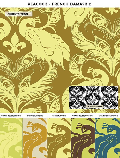 Casart Peacock Damask_sample2