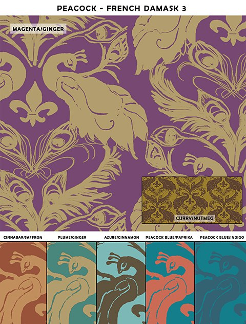 French Damask_Casart Peacock Damask_sample temporary wallpaper