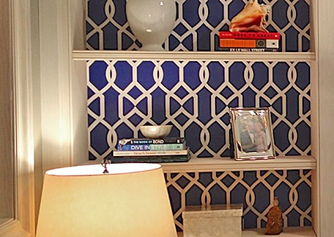 Casart coverings_Libby Langdon Lively Lattice used as a Bookcase Backing