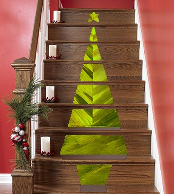 Casart Faux Tortoiseshell Christmas-Tree-Stair-Decoration clever ways for holiday comfort and joy_casartblog